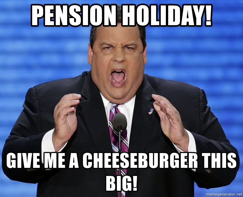 Hungry Chris Christie - pension holiday! give me a cheeseburger this big!