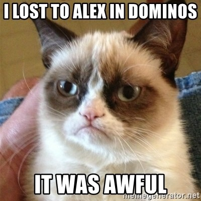 Grumpy Cat  - I lost to Alex in dominos  It was awful