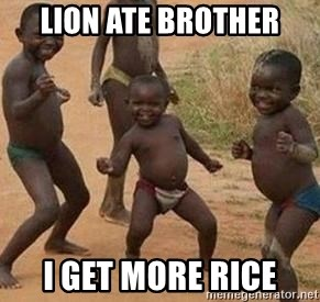 african children dancing - Lion ate brother I get more rice