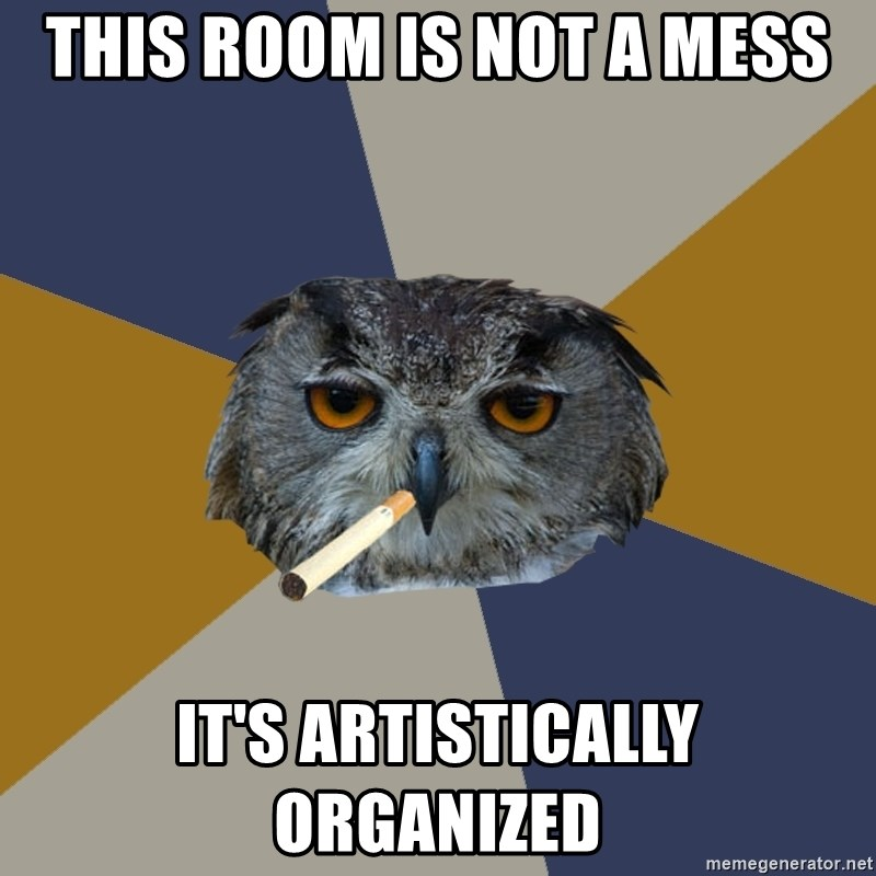 Art Student Owl - this room is not a mess it's artistically organized