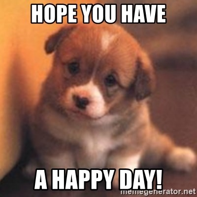 Hope You Have A Happy Day Cute Puppy Meme Generator