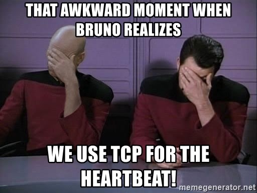 Picard-Riker Tag team - that awkward moment when bruno realizes we use tcp for the heartbeat!