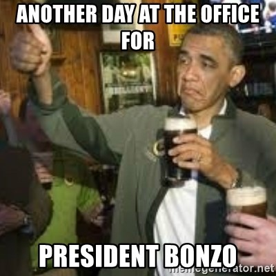 obama beer - another day at the office for president bonzo