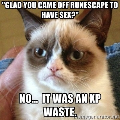 "Grumpy Cat  - ""Glad you came off Runescape to have sex?"" No...  It was an XP waste."