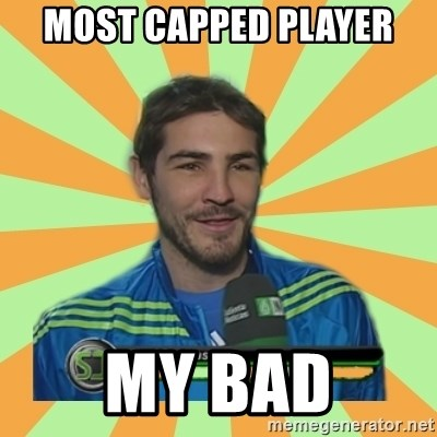 Iker Casillas - most capped player my bad