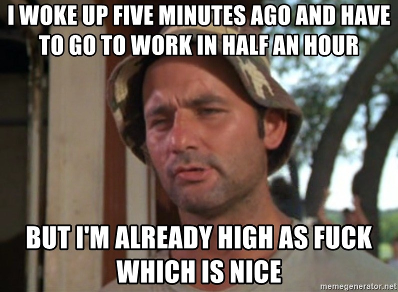 I woke up five minutes ago and have to go to work in half an hour But I'm  already high as fuck which is nice - at least I got that going ...