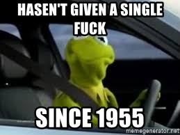 kermit the frog in car - Hasen't given a single fuck since 1955