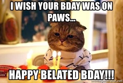 Birthday Cat - I wish your bday was on paws... Happy Belated Bday!!!