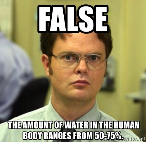 False Dwight - false  The amount of water in the human body ranges from 50-75%.