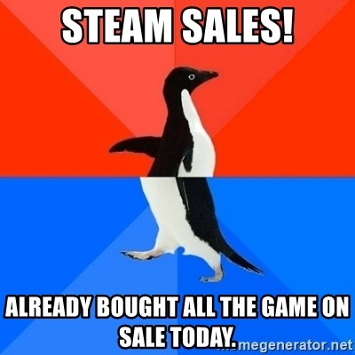 Socially Awesome Awkward Penguin - Steam sales! ALREADY BOUGHT ALL THE GAME ON SALE TODAY.