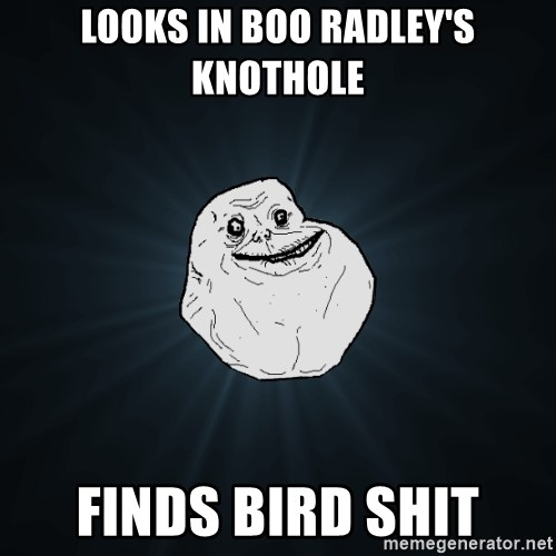 Forever Alone - looks in boo radley's knothole finds bird shit