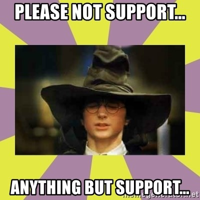 Harry Potter Sorting Hat - please not support... anything but support...