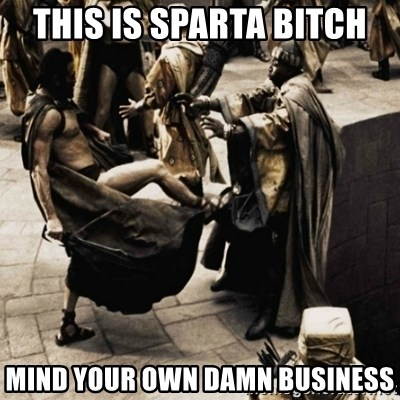 sparta kick - THIS IS SPARTA BITCH mind your own damn business