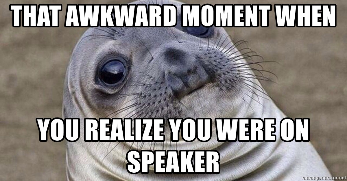 Awkward Moment Seal - That awkward moment when  you realize you were on speaker