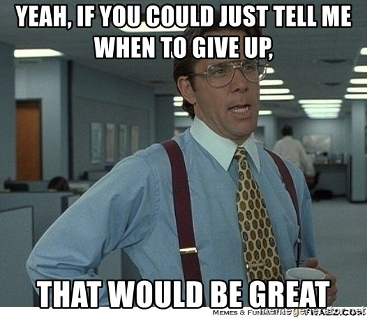 That would be great - yeah, if you could just tell me when to give up, that would be great