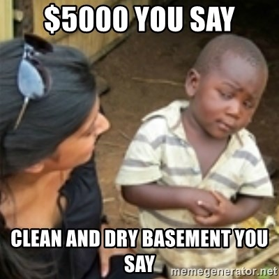 Skeptical african kid  - $5000 you say Clean and dry basement you say