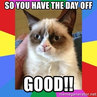 Grumpy Cat Smiling - so you have the day off good!!