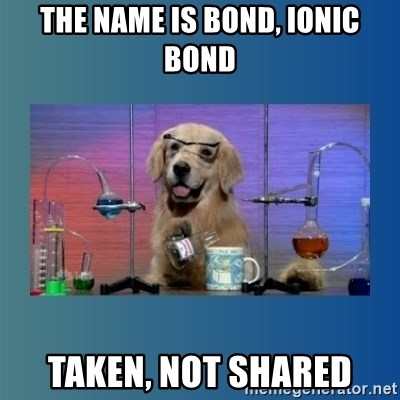 Chemistry Dog - the name is bond, Ionic Bond Taken, not shared