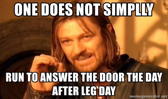 One Does Not Simplly Run To Answer The Door The Day After Leg Day