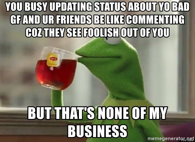 Kermet None of my business - You busy updating status about yo Bad gf and ur friends be like commenting c0z they see Foolish out of you BUT that's none of my business