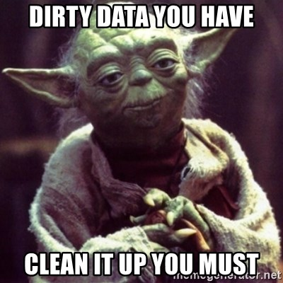 yoda star wars - Dirty Data you have clean it up you must
