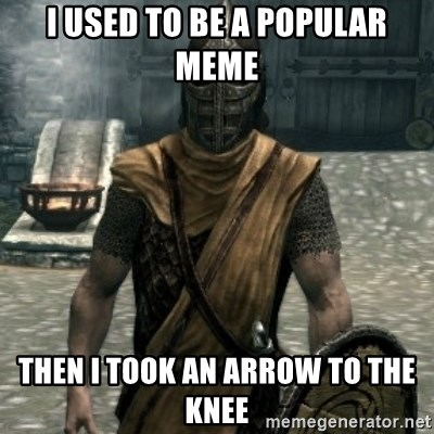 skyrim whiterun guard - I used to be a popular meme then i took an arrow to the knee