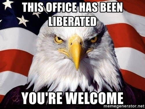 American Pride Eagle - this office has been liberated you're welcome