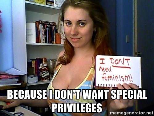 Dont Need Feminism - because i don't want special privileges