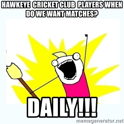 All the things - Hawkeye  cricket club  players when do we want matches?  Daily!!!