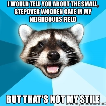 Lame Pun Coon - i would tell you about the small, stepover wooden gate in my neighbours field but that's not my stile