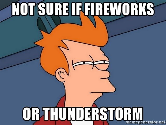 Futurama Fry - Not sure if fireworks or thunderstorm