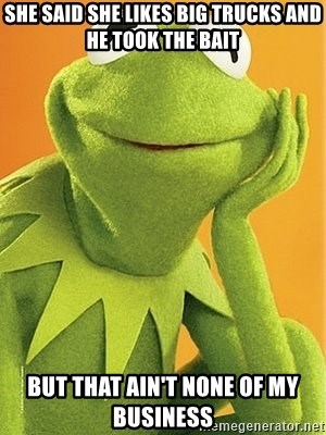 Kermit the frog - She said she likes big trucks and he took the bait But that ain't none of my business