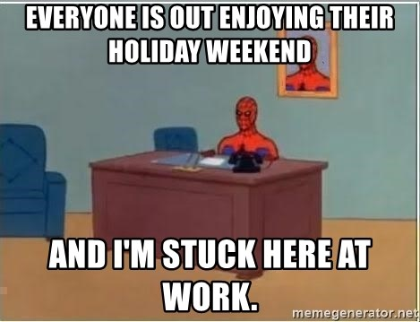 Spiderman Desk - everyone is out enjoying their holiday weekend and I'm stuck here at work.