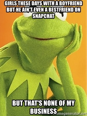 Kermit the frog - Girls these days with a boyfriend but he ain't even a bestfriend on SnapChat But that's none of my business