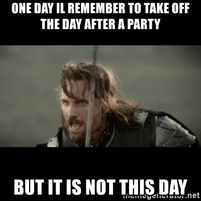 But it is not this Day ARAGORN - One day il remember to take off the day after a party But it is not this day
