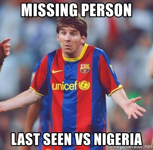 Messi 3 - MISSING PERSON  Last seen vs Nigeria
