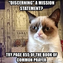 """Grumpy Episcopal Cat - """"Discerning"""" a mission statement? Try page 855 of the book of common prayer"""
