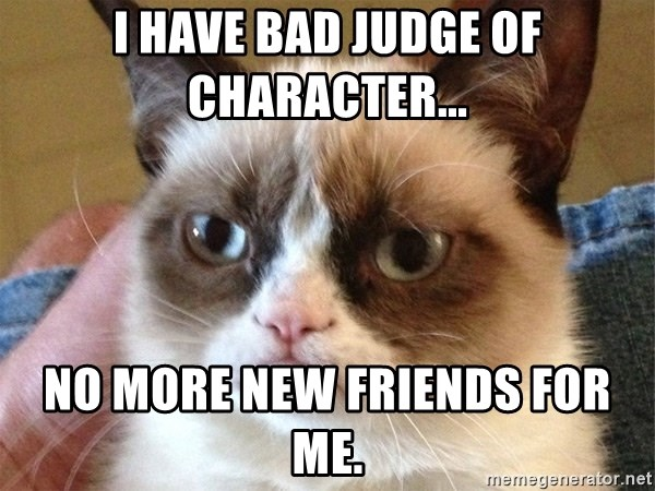 Angry Cat Meme - I have bad judge of character... no more new friends for me.
