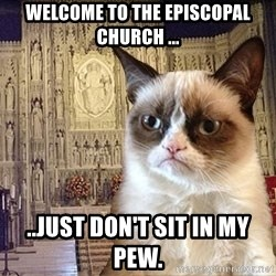 Grumpy Episcopal Cat - Welcome to the episcopal church ... ..just don't sit in MY pew.