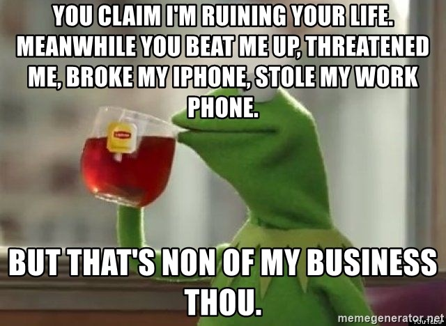Kermet None of my business - You claim I'm ruining your life. Meanwhile you beat me up, threatened me, broke my iPhone, stole my work phone. But that's non of my business thou.