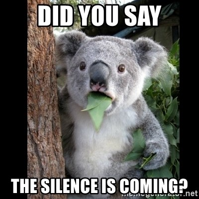 Koala can't believe it - Did you say the silence is coming?
