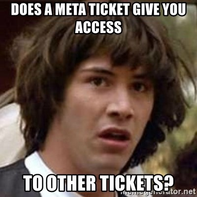 Conspiracy Keanu - Does a Meta Ticket give you access To other tickets?