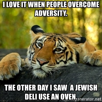 Confession Tiger - i love it when people overcome adversity. the other day i saw  a jewish deli use an oven.