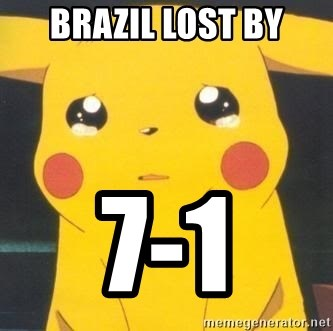 Sad pikachu - Brazil lost by 7-1