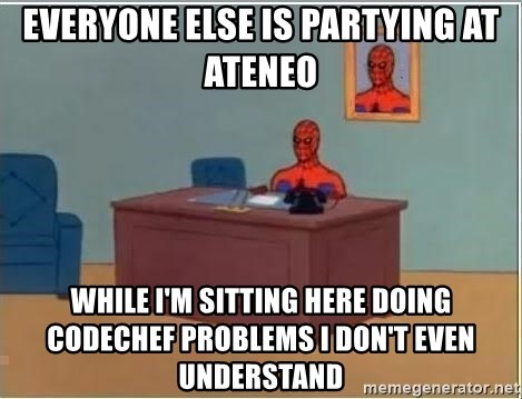 Spiderman Desk - Everyone else is partying at ateneo while i'm sitting here doing codechef problems i don't even understand