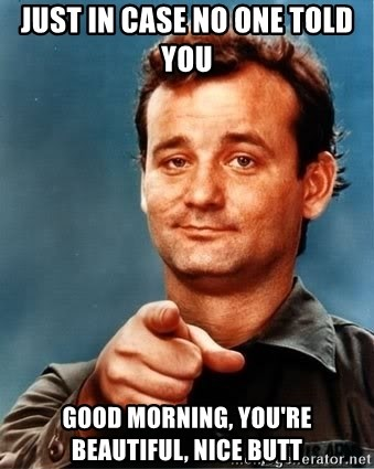just in case no one told you good morning, you're beautiful, nice butt - Bill Murray Needs You | Meme Generator