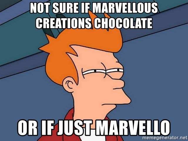 Futurama Fry - Not sure if marvellous creations chocolate  Or if just marvello