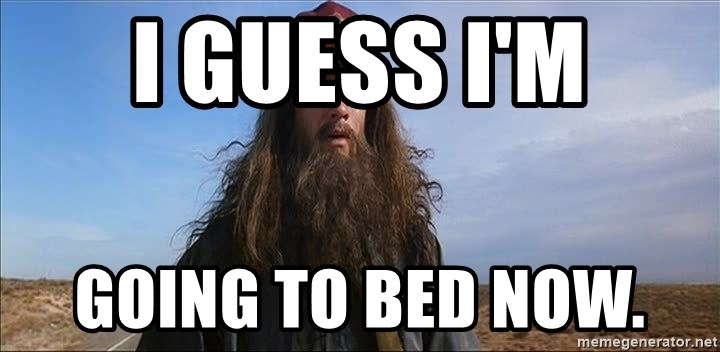 Forrest Gump Hobo - I Guess I'm going to bed now.