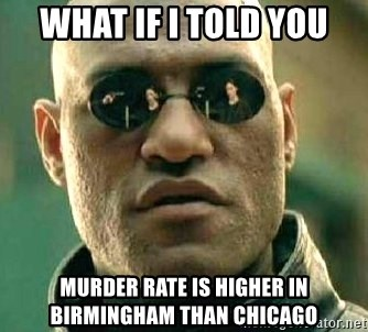 What if I told you / Matrix Morpheus - WHAT IF I TOLD YOU MURDER RATE IS HIGHER IN BIRMINGHAM THAN CHICAGO