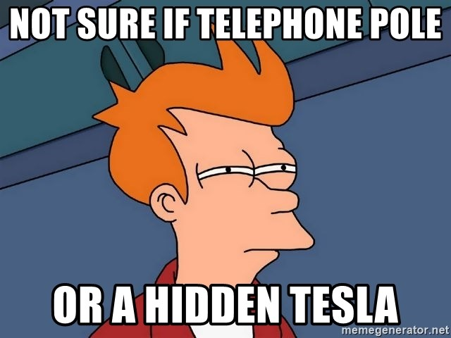 Futurama Fry - Not sure if telephone pole Or a hidden tesla